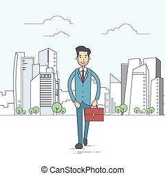 Businessman Walking Street City Skyscraper Cartoon Business Man Suit Briefcase
