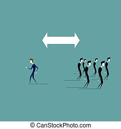 Businessman Walking To Different Side Of Arrow From Business People Group