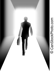 Businessman walking to the light
