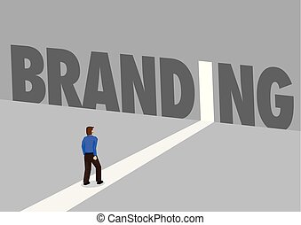Businessman walking towards a light path with the text brand. Business concept of corporate branding, innovation or overcoming challenge. Vector illustration.