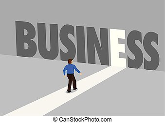 Businessman walking towards a light path with the text business. Business concept of corporate success, innovation or overcoming challenge. Vector illustration.