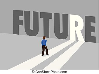 Businessman walking towards a light path with the text future. Business concept of future, innovation or disruption. Vector illustration.