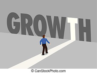 Businessman walking towards a light path with the text growth. Business concept of marketing, promotion or challenges. Vector illustration.