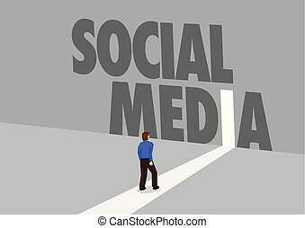 Businessman walking towards a light path with the text Social Media. Business concept of marketing, promotion or challenges in social media.