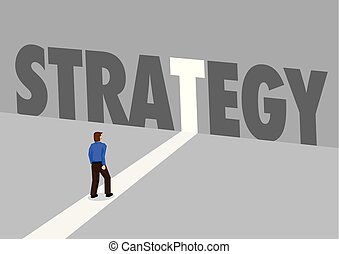 Businessman walking towards a light path with the text strategy. Business concept of planning, innovation or disruption. Vector illustration.