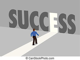 Businessman walking towards a light path with the text success. Business concept of business success, innovation or overcoming challenge. Vector illustration.