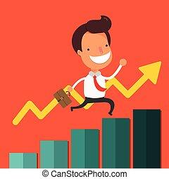 Businessman walking up business graph.