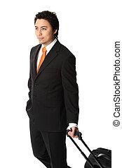 Businessman walking with bag