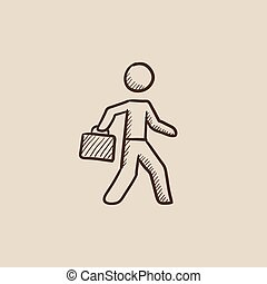 Businessman walking with briefcase sketch icon.