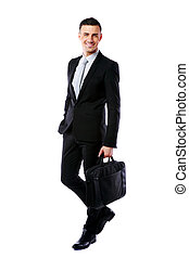 Businessman walking with laptop bag isolated on a white background