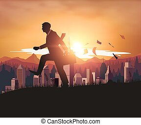 Businessman walking with sunset city background