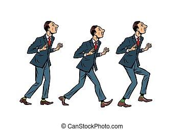 businessman walks, gait character phase. Comic cartoon pop art retro vector illustration drawing