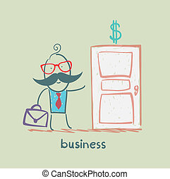 businessman walks into a door painted with a dollar