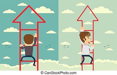Businessman walks upstairs. Business concept. Set