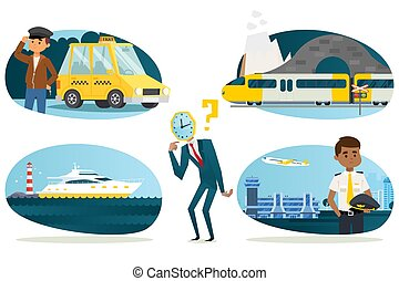 Businessman watchhead character choose faster way to travel, vector illustration. Business trip taxi with driver, high-speed modern train