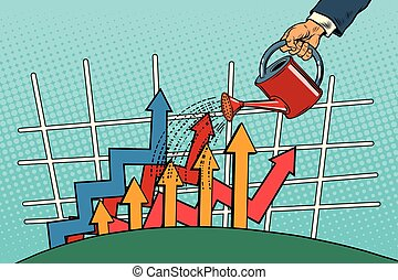 businessman watered arrow growth chart from a watering can