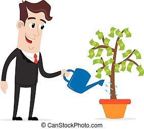 Businessman watering a money tree