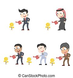 Businessman watering coin tree different race set