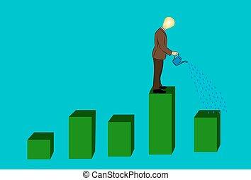 businessman watering financial graph