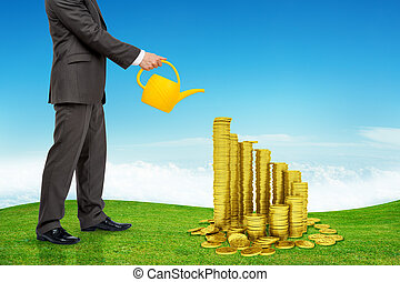 Businessman watering gold coins