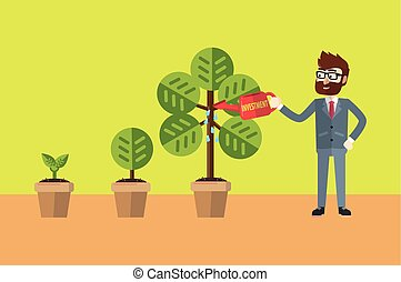 Businessman watering his plant