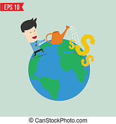 Businessman watering money  - Vector illustration - EPS10