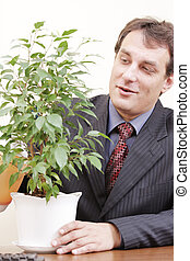 Businessman watering plant