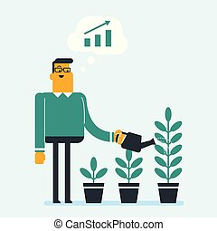 Businessman watering trees of three sizes.