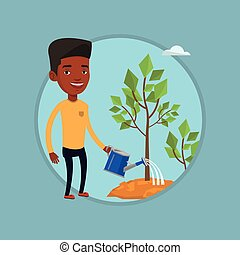 Businessman watering trees vector illustration.