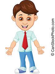 Businessman waving hand - vector illustration of Businessman...