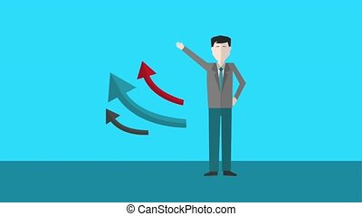 businessman waving hand with business arrows up