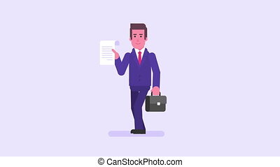 Businessman way to success. Character animation set. Loop...