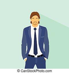 Businessman wear elegant fashion suit hold hands in pockets,...