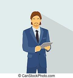 Businessman wear elegant fashion suit hold tablet computer, business man flat icon vector illustration