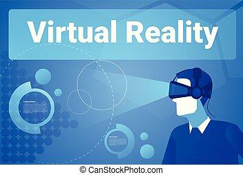 Businessman Wearing 3d Glasses Virtual Reality Background With Copy Space Man In Vr Goggles Concept
