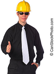 Businessman wearing a helmet, handshake, isolated - Elegant...