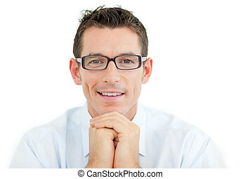 Businessman wearing glasses smiling at the camera