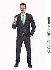 Businessman wearing green tie