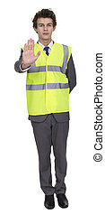 Businessman Wearing Security Jacket Showing Stop Sign