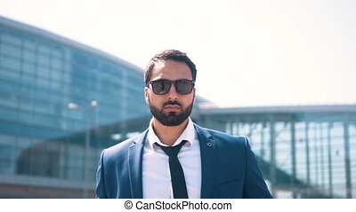 Businessman Wearing Sunglasses - Bearded handsome...