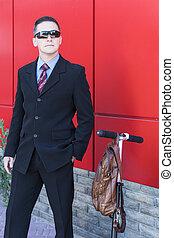 Businessman wearing sunglasses