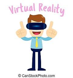Businessman Wearing Virtual Reality Glasses