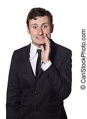 businessman whispers gossip