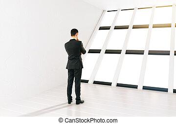 Businessman white room