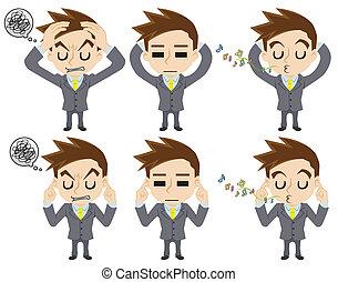 businessman who covers ears