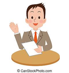 Businessman who explains