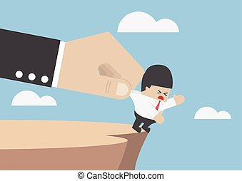 Businessman who falling from cliff being helped by big hand