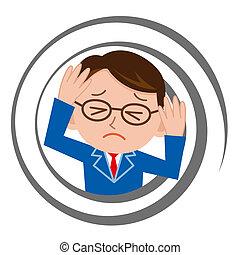 Businessman who feels dizzy
