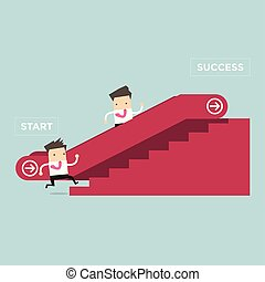 Businessman who going up to escalator to success and another man who is climbing the stairs.