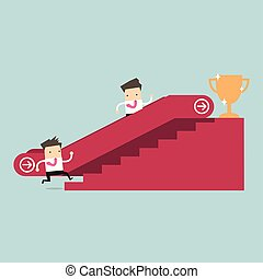 Businessman who going up to escalator to success trophy and another man who is climbing the stairs.